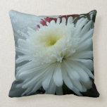 Holiday Flowers and Snow II Christmas Floral Throw Pillow