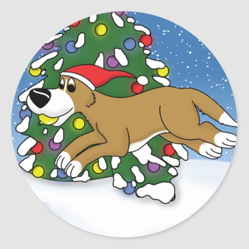Holiday Flyball Classic Round Sticker