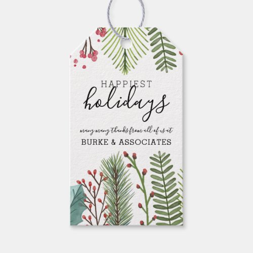 Holiday Foliage Christmas Personalized Gift Tags