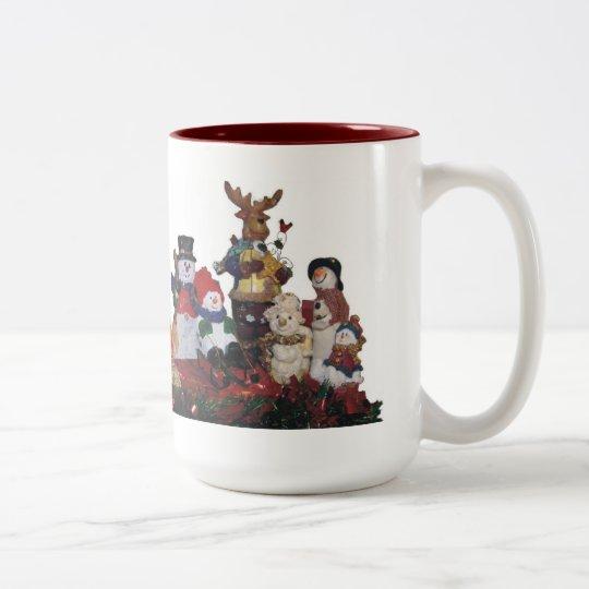 holiday friends Two-Tone coffee mug