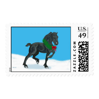 Holiday Friesian Horse Postage