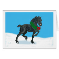 Holiday Friesian Horse Thanks Greeting Card