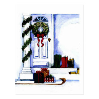 Holiday Front Porch Postcard