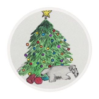 Holiday Frosting Sheet Terrier Edible Frosting Rounds