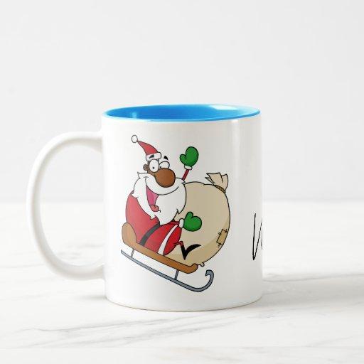 Holiday Fun Black Santa Claus Riding Sled Two-Tone Coffee Mug