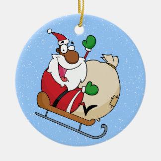 Holiday Fun Black Santa Claus Riding Sled Christmas Ornaments