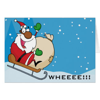 Holiday Fun Black Santa Claus Riding Sled Stationery Note Card
