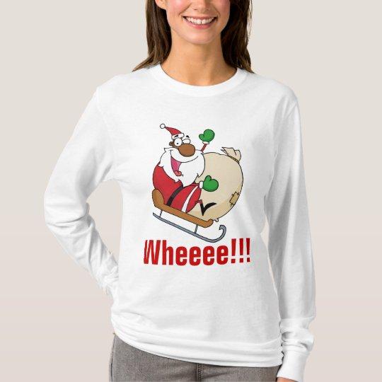 Holiday Fun Black Santa Claus Riding Sled T-Shirt