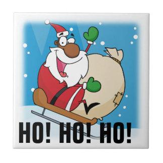 Holiday Fun Black Santa Claus Riding Sled Tile