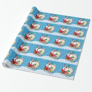 Holiday Fun Black Santa Claus Riding Sled Wrapping Paper