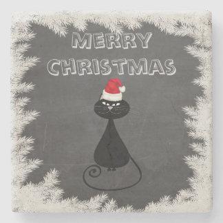 Holiday funny Christmas winter Santa cat Stone Coaster