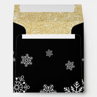 Holiday Gala Black & Gold Snowflakes Envelope