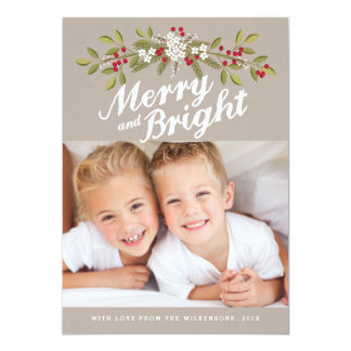 Holiday Garland Merry & Bright Photo Greeting 5x7 Paper Invitation Card