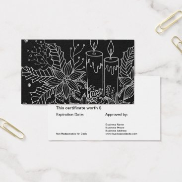Professional Business Holiday Gift Card Certificate Simple Black White