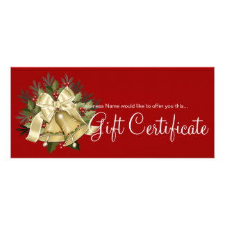 Holiday Gift Certificate Tan Christmas Bells