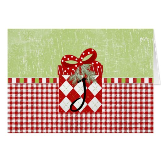 Holiday Gift Initial J Greeting Card