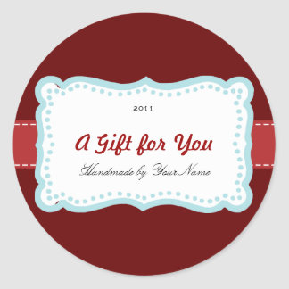 Holiday Gift Label in Red & Blue Stickers