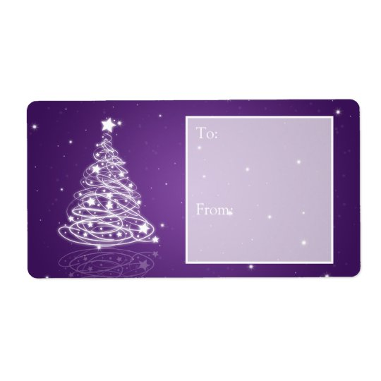 ed97d730f74f2 Holiday Gift Tag Modern Christmas Tree Purple