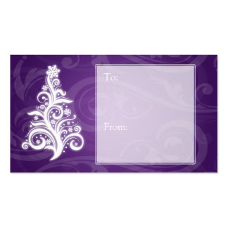 Holiday Gift Tag Swirly Christmas Tree Purple Business Card