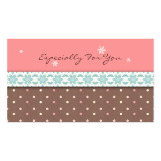 Holiday Gift Tags: Pink & Brown with Blue Lace Business Cards