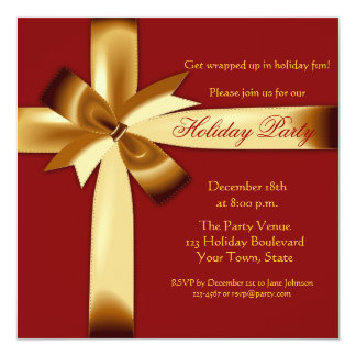 Holiday Gift Wrap Party 5.25x5.25 Square Paper Invitation Card