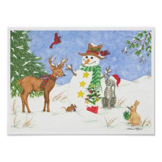Holiday Gifts Friends - Snowman Poster Print