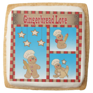 Holiday Gingerbread Baker Men Square Shortbread Cookie