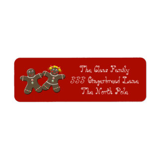 Holiday Gingerbread Cookie Couple Address Labels