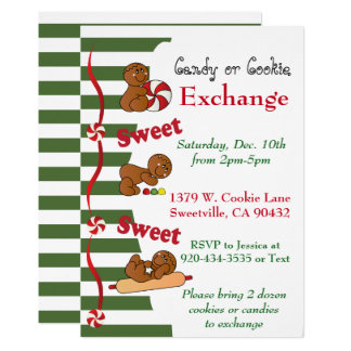 Holiday Gingerbread Cookie or Candy Exchange Card