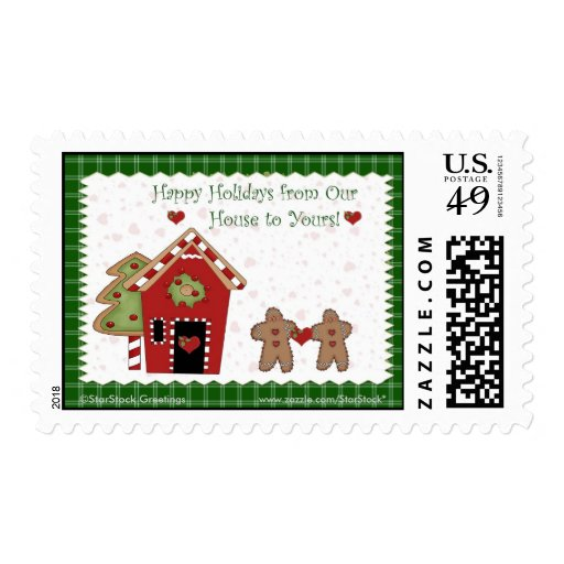 Holiday Gingerbread Green Postage
