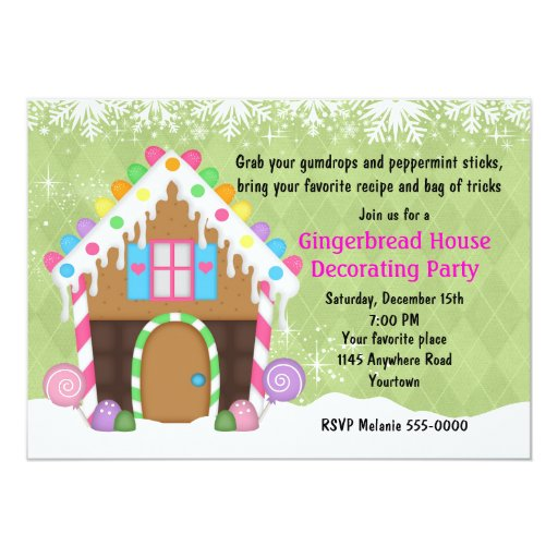 Holiday gingerbread house decorating party 5x7 paper Gingerbread house decorating party invitations