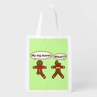 Holiday Gingerbread Humor Reusable Grocery Bag