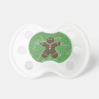 Holiday Gingerbread Man Christmas Candy canes Pacifier