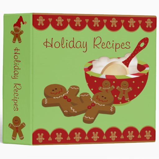 "Holiday Gingerbread Man Recipe Binder - 2"" Size"