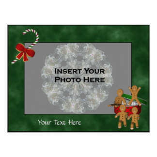 Holiday Gingerbread Men Photo Template Poster