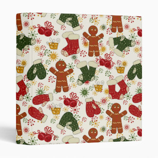 Holiday Gingerbread Pattern 3 Ring Binder