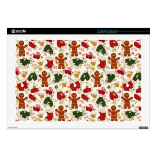 """Holiday Gingerbread Pattern Decals For 17"""" Laptops"""