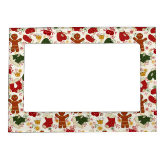 Holiday Gingerbread Pattern Magnetic Photo Frame