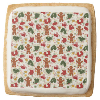 Holiday Gingerbread Pattern Square Shortbread Cookie