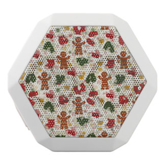 Holiday Gingerbread Pattern White Bluetooth Speaker