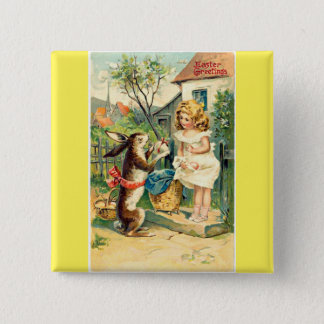 Holiday Girl & Bunny Vintage Easter Badge Pinback Button