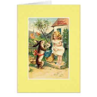 Holiday Girl & Bunny Vintage Easter Greeting Card