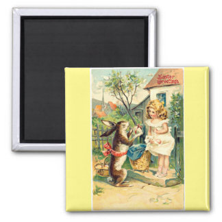 Holiday Girl & Bunny Vintage Easter Magnet