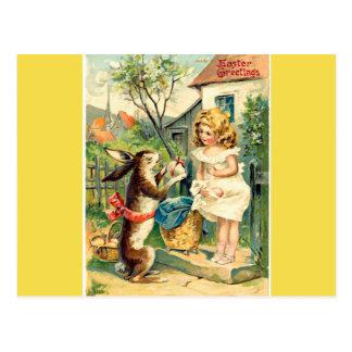 Holiday Girl &  Vintage Easter Bunny Postcard