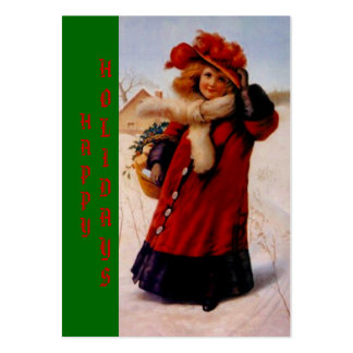 HOLIDAY GIRL W/ BASKET TAGS ~ GIFT TAG CARDS LARGE BUSINESS CARDS (Pack OF 100)