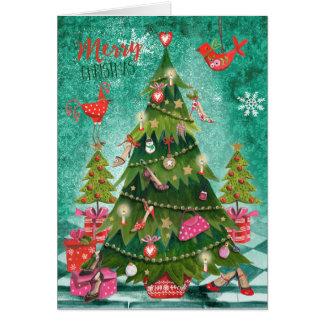 Holiday Girly Christmas Tree   Greetings Cards