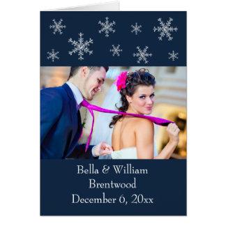 Holiday Glamour Blue Wedding Thank You Card