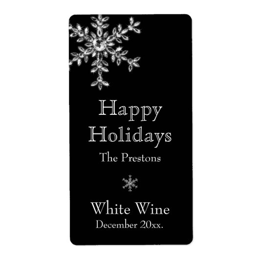Holiday Glamour Wine Label (black)