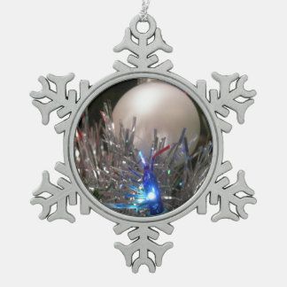 Holiday glitter snowflake pewter christmas ornament