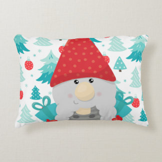 Holiday Gnome with gifts Accent Pillow
